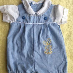 Vintage newborn blue overalls